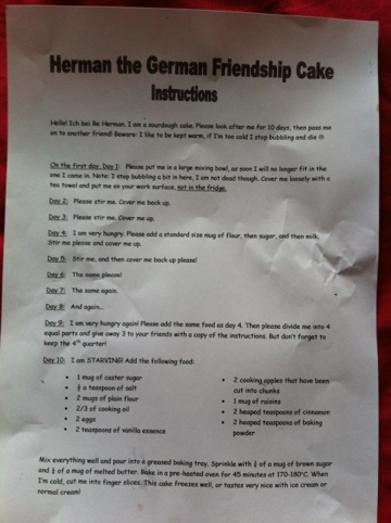 herman friendship cake instructions